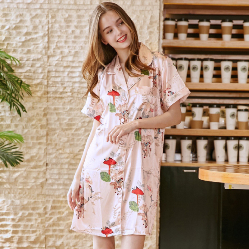SSH0227 Women Sleep Lounge Print Satin Silk Sleepwear Robe Sexy V Neck   Nightgown     Sleepshirts   Female Summer Night Dress   Nightgown