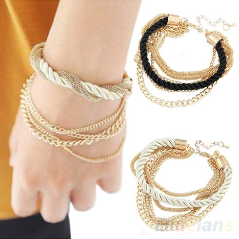 Fashion Jewelry Elegant Gold Color Chain Braided Rope Multilayer Bracelet Hand Chain for Women 08H7
