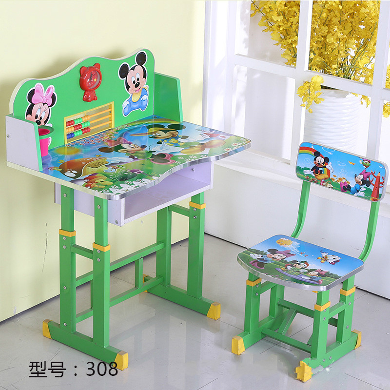Children's desk children's learning table with bookshelf pupils writing desk lifting tables and chairs