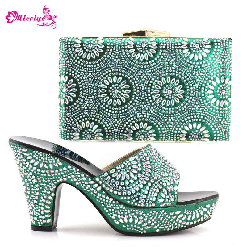 Latest Design Sales In Women Matching Shoes and Bag Set Decorated with Rhinestone Women Shoes and Bag Set In Italy Nigerian Shoe cd158 1 free shipping hot sale fashion design shoes and matching bag with glitter item in black