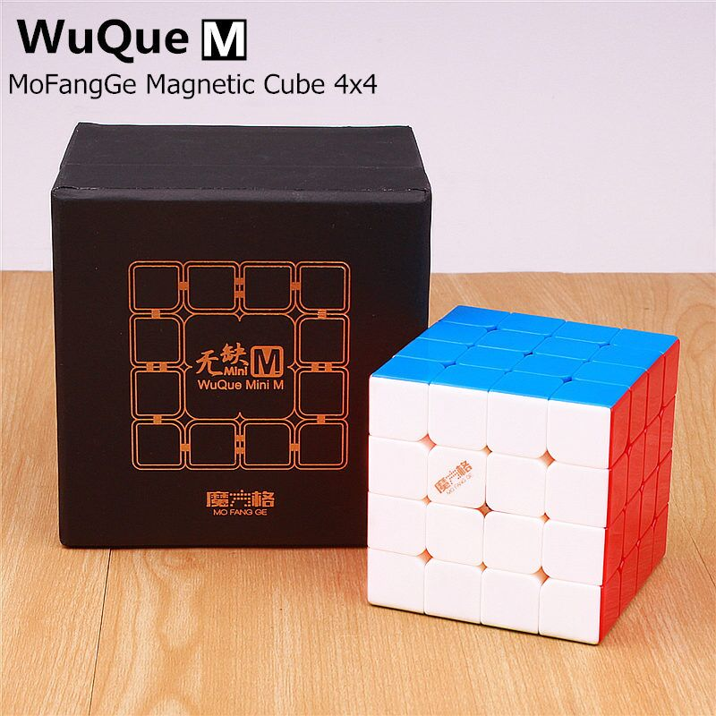 QIYI MOFANGGE wuque mini 4x4x4 M magnetic magic cube sticker less professional magnets speed cubo magico
