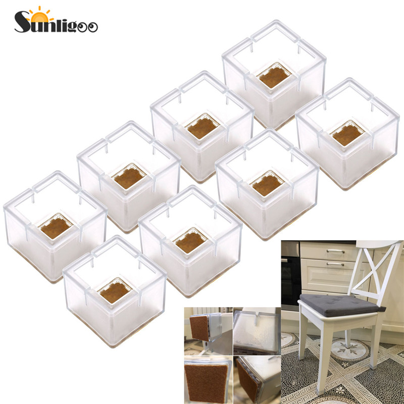 8pcs Square Silicone Leg Caps Sets Covers Socks Floor Protectors Furniture Chair Table Feet Pads Non-slip Prevent Scratches