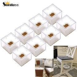 Sunligoo 8 pçs quadrado silicone perna tampas meias protetores de chão móveis cadeira mesa pés almofadas antiderrapante evitar arranhões