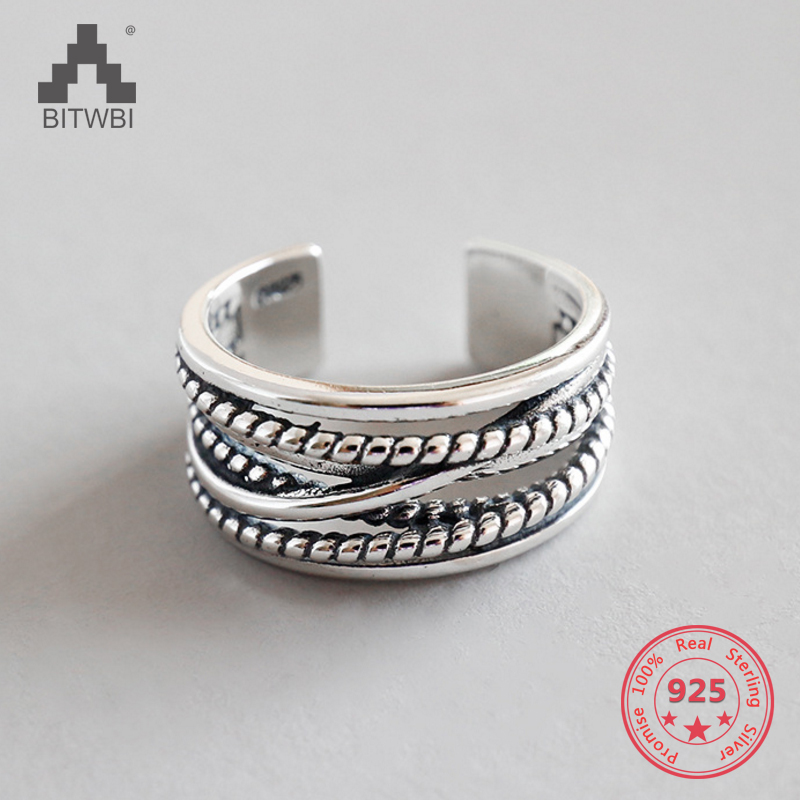 925 Sterling Silver Ring Multi-layer Winding Twist Retro Opening Ring925 Sterling Silver Ring Multi-layer Winding Twist Retro Opening Ring