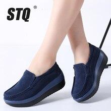 STQ 2020 ฤดูใบไม้ร่วงผู้หญิงแบนแพลตฟอร์มรองเท้าผ้าใบหนังรองเท้าหนังนิ่มรองเท้าผู้หญิงสีน้ำเงิน Casual Oxford รองเท้า SLIP ON Flats 3213