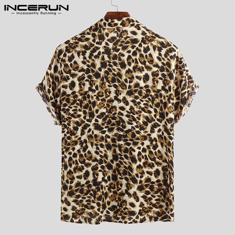 Summer Short Sleeve Leopard Print Shirt Men Lapel Neck Loose Button Up Blouse Breathable Streetwear Sexy Shirts Men INCERUN 2021 4