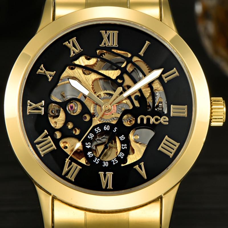 27f36ebff4f 2017 Nova MCE Mens Luxo Ouro Algarismos Romanos Relógio de Aço Inoxidável  Homens de Negócios Mecânico Automático do Relógio de Pulso 331 em Relógios  ...