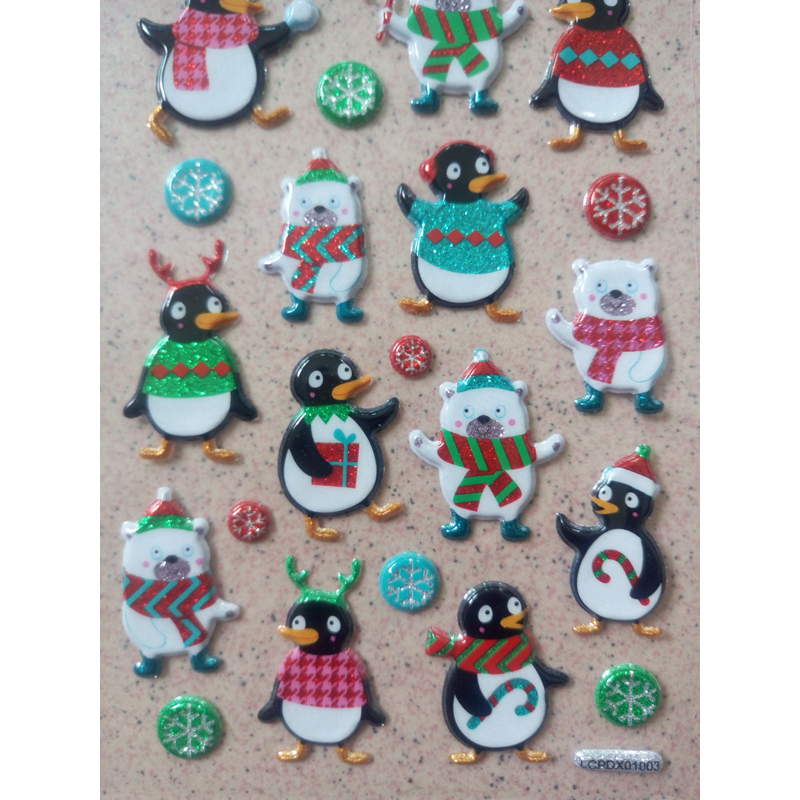 Classic Toys Stickers Christmas decorations Xmas sticker toys Penguin pattern Snowman figure stickers Toys for children kids