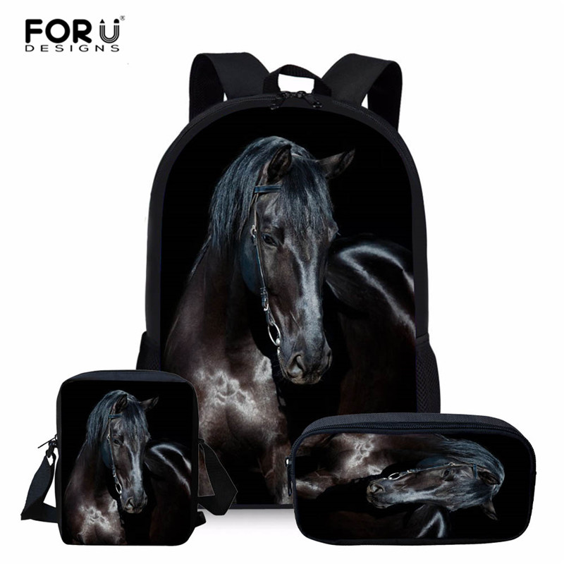 FORUDESIGNS Multifunctional 3PCS/SET Horse Backpacks Women's Mochila School Bag Set For Travel Bagpack School Backpack For Girl