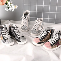 2019 spring autumn Glitter High Top Sneaker Baby Girl Fashion Trainer Toddler Leather Sequins Shoe trainers sport footwear