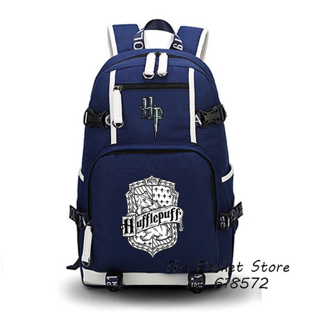 High Quality Harry Potter Gryffindor/Hufflepuff/Ravenklauw/Slytherin Hogwarts School Women Printing Backpack Canvas School Bags 3