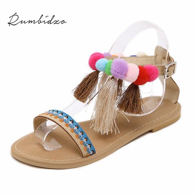 c16878d00ff Rumbidzo 2018 New Women Sandals Fashion Tassel Sandalias Open Toe Flat  Heels Buckle Strap Bohemia Style Ethnic Beach Shoes -in Women s Sandals  from ...