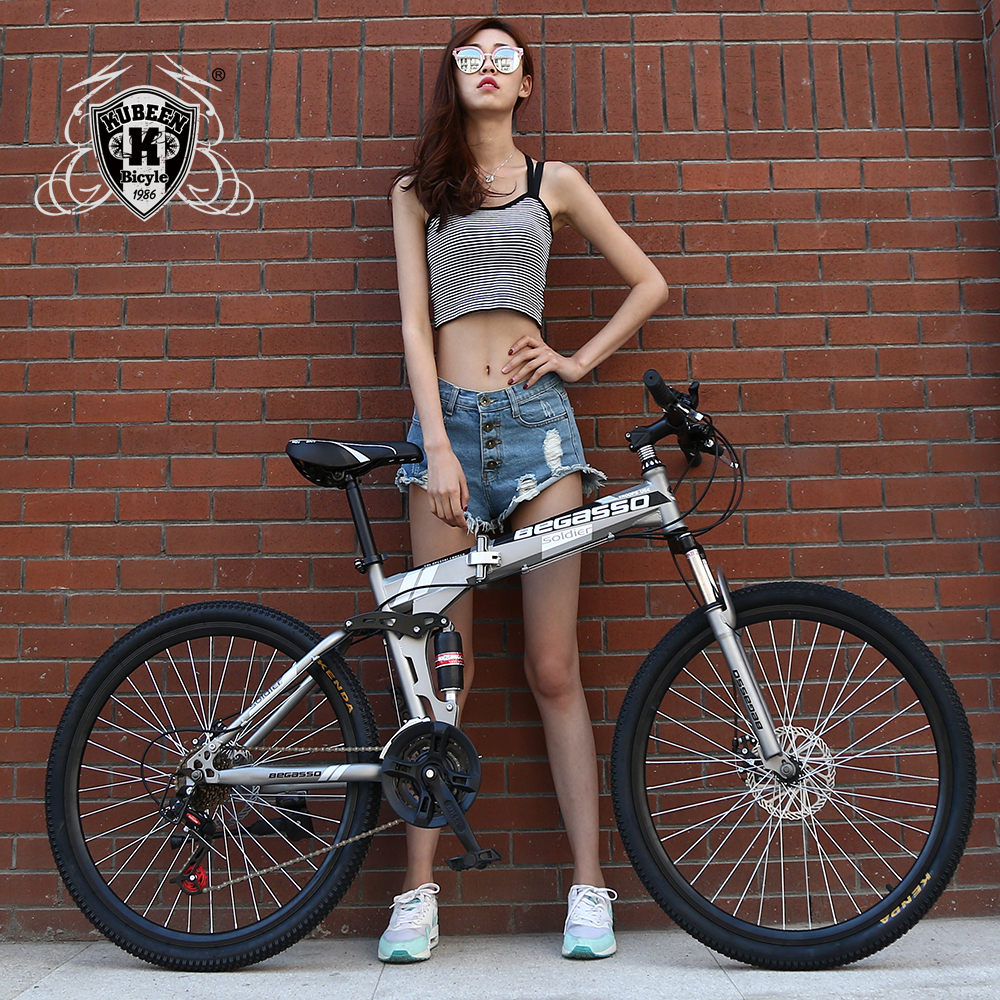 KUBEEN-BEGASOO 26inch folding mountain bike 21 speed double damping bicycle double disc brakes mountain bike mountain bike four perlin disc hubs 32 holes high quality lightweight flexible rotation bicycle hubs bzh002
