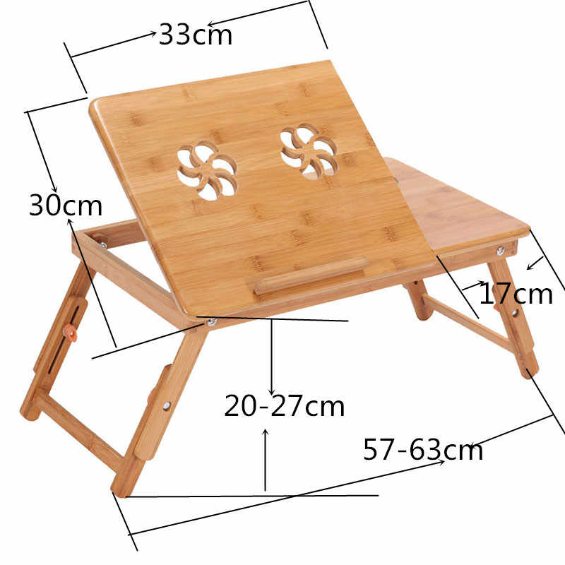 Ergonomi Adjustable Meja Laptop Bambu Lipat Meja Sarapan Melayani Bed Tray Nyaman Dijual Meja Komputer Rusia Saham