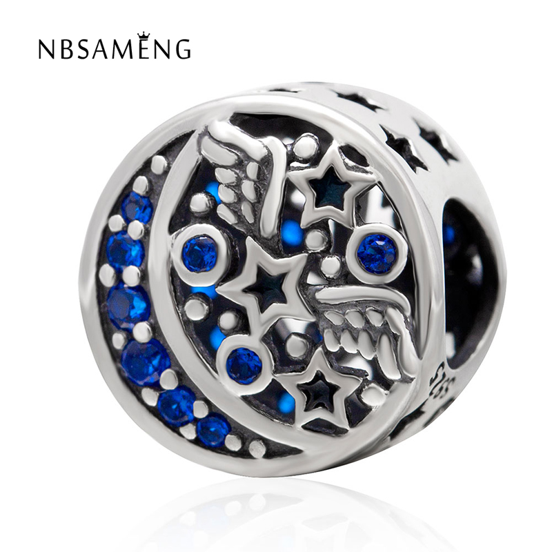 100% 925 Sterling Silver Bead Star & Wings Charm With Blue Sky Beads Fits Pandora Charm Bracelets DIY Jewelry Women Wholesale