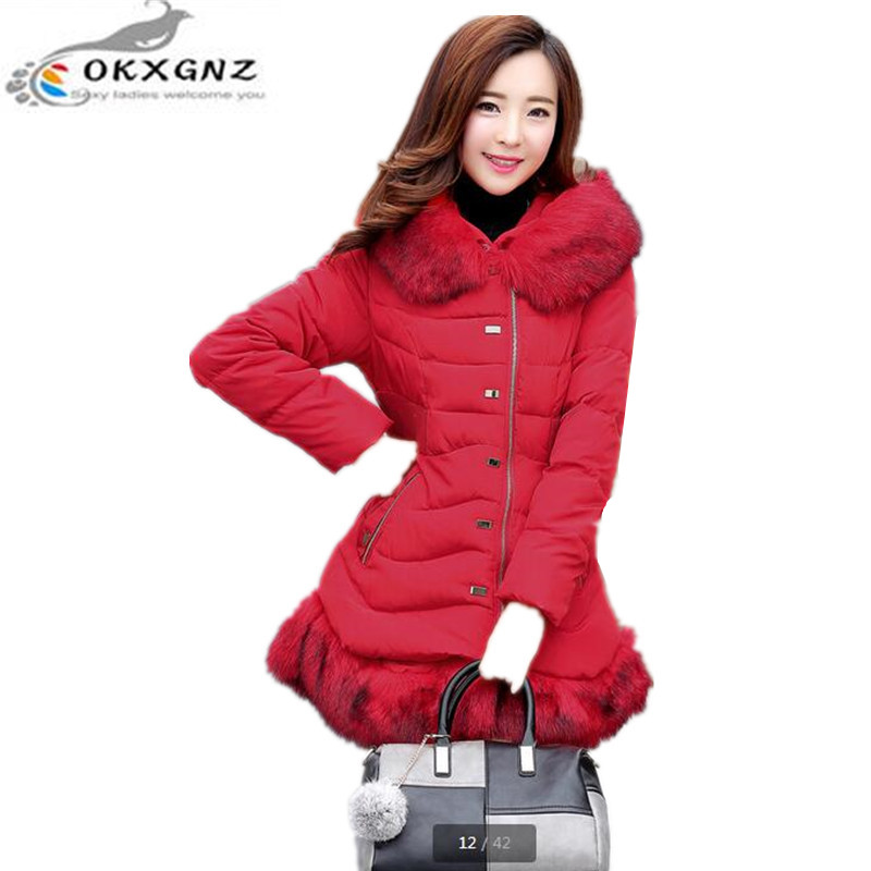 OKXGNZ Winter Coat 2017 New Fashion Big size  Women Cotton Jacket Coat Solid color fur Long-sleeved Zipper Jacket Clothes QQ333