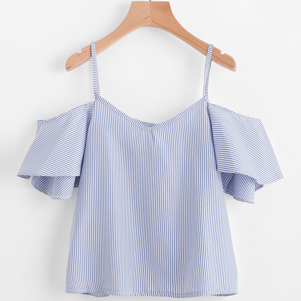 Women Cold Shoulder Tops Hot Sale Summer Pinstripe Blouse Loose Beach Elegant Shirt Office Lady Soft Camisas Free Shipping 40P