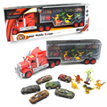 11pcs/lot Portable Plastic Container Truck Alloy Car Dinosaur Model Toys Metal Cars toys for Children kid Birthday Gift
