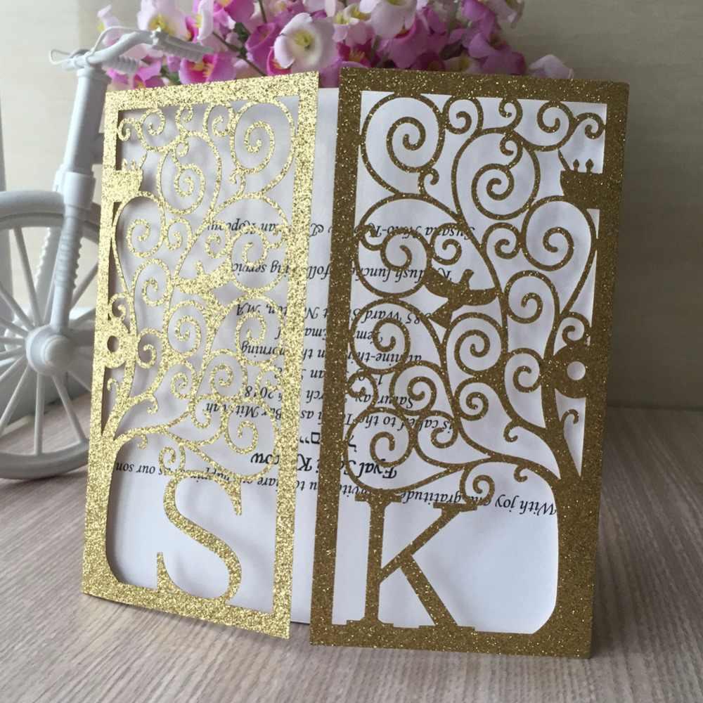 100 stks/partij Glitter papier Custom Naam Elegant Engagement Uitnodigingskaart Partij Bussiness Kaarten Bruiloft Centerpieces Decoratie