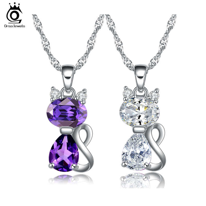 ORSA JEWELS 2019 Fashion Jewels Cute Cat Pendants Necklace with 1.8 Carat Austrian Cubic Zirconia Necklace for Women ON77