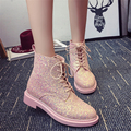 Europe style new fashion 2016 autumn winters sequined shoes low cylinder Martin boots round Casual women's short boots
