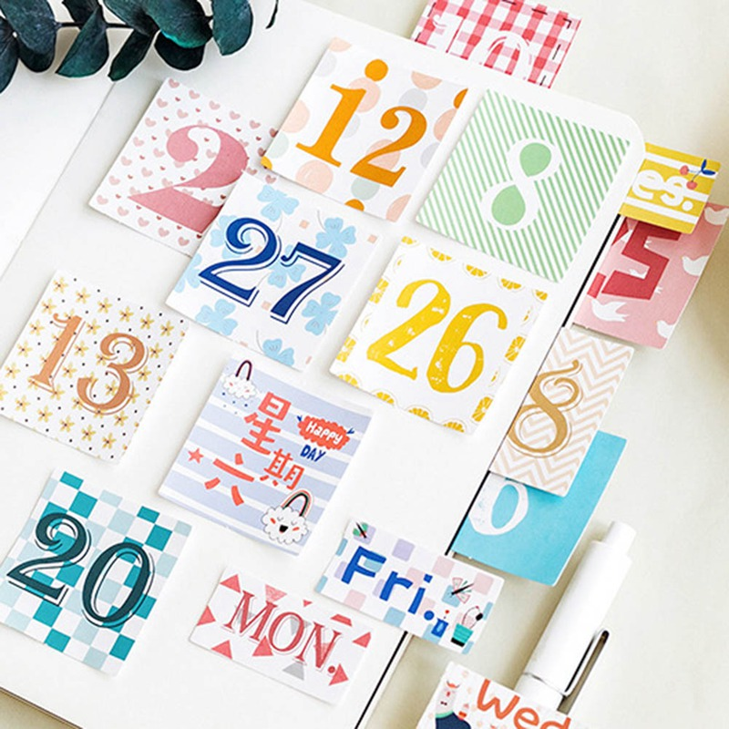 45pcs Date Paper Label Stickers DIY Diary Stationery Decor Stickers Kids Gift Es