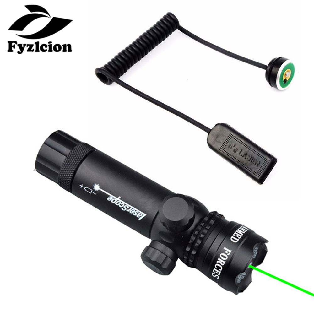 Hunting Rifle Scope Green Dot Laser Sight With 20mm Weaver Picatinny /QD 45 Degree Offset Rail Mount  Remote Switch