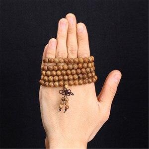 Image 3 - 108 Wooden Beaded Bracelet Men Wenge Prayer Beads Tibetan Buddhist Mala Rosary Bracelets For Women  Wood pulsera hombre Jewelry