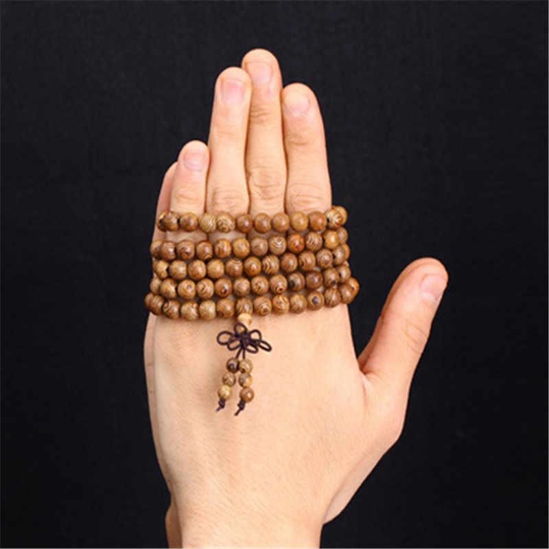 สร้อยข้อมือผู้ชายสวดมนต์ลูกปัดไม้ทิเบตพุทธ Mala ลูกปัดสร้อยข้อมือสำหรับสตรีไม้ pulsera hombre เครื่องประดับ