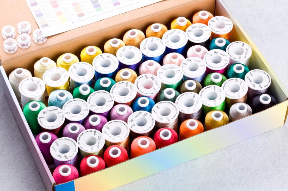 60 Brother Colors Series Trilobal poliéster máquina bordado hilo filamento Ideal para la mayoría de la máquina 1000 m * 60 colores surtidos-in Hilo from Hogar y Mascotas    3