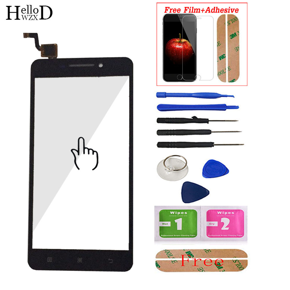 For Lenovo A5000 A 5000 Touch Screen Glass Digitizer Panel Front Glass Lens Sensor Flex Tools Adhesive + Screen Protector Gift
