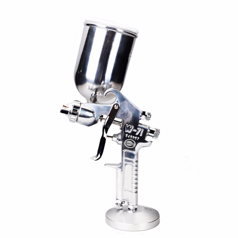 Free Shipping W71-G Silver Professional HVLP Paint Spray Gun Air Tool Gravity Feed Air Spray Gun Use for Car /Sprayer/Painting sat1189 free shipping dual head spray gun paint spray gun air compressor silver mirror chrome spray gun hvlp