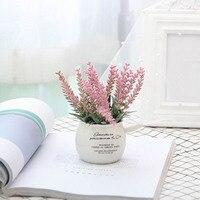 1 шт. искусственные мини в горшке домашние декоративные растения Лаванда бонсай в горшке Цветочный XHC88