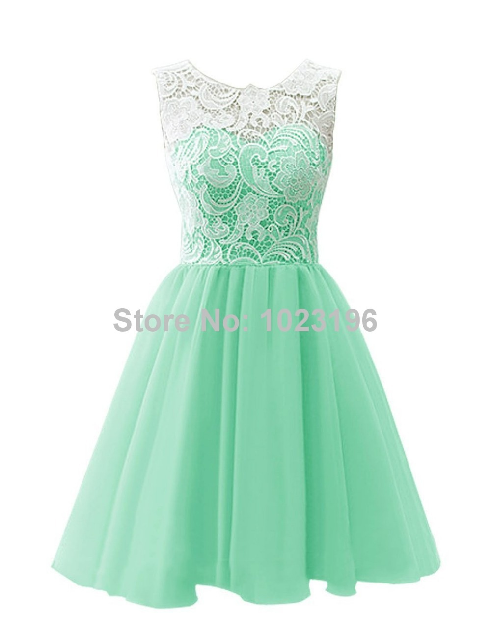 2017 New Short Mint Green Lace Chiffon Prom Dress Zipper With Button ...