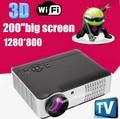 Android 4.2 2800 lúmenes 1080 P HD lleno inteligente Wifi LED 3D proyector de vídeo portátil Multimedia Home cinema TV Beamer
