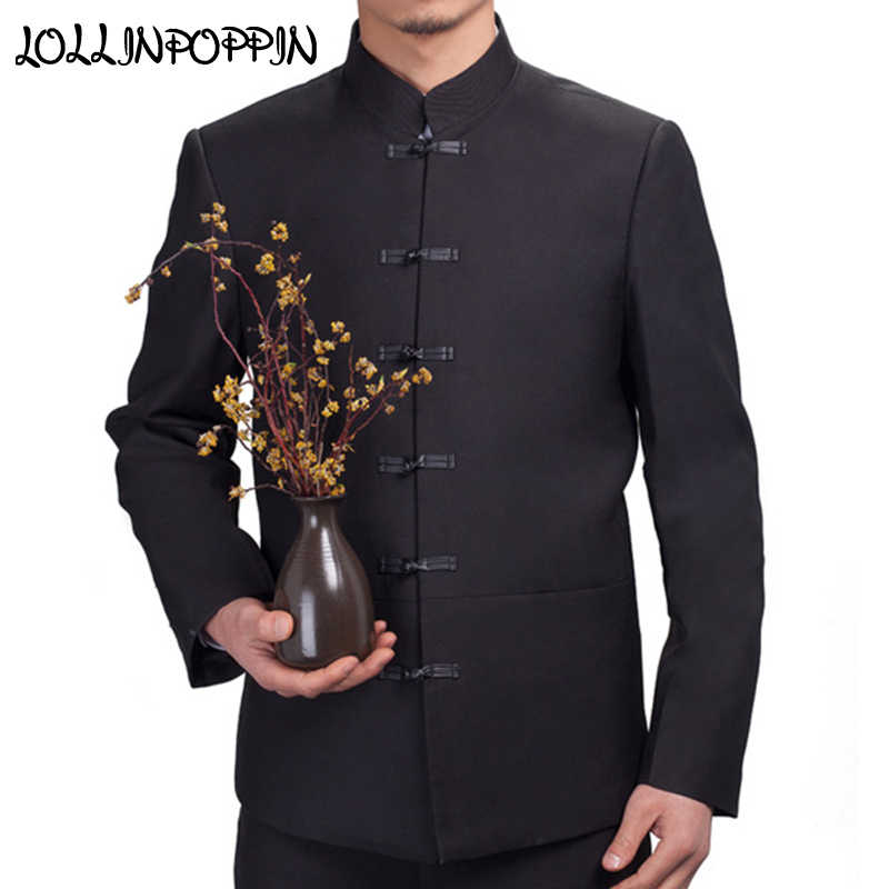 a0e8763e01f7 Traditional Chinese Suit Jacket Frog Closure Single Breasted Mens Black  Tunic Suit Jacket Mandarin Collar