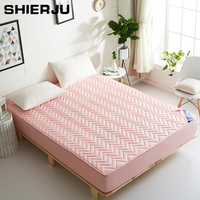 SHIERJU 100% Cotton Bed Mattress Cover Air Permeable Mattress Protector Pad White/Pink Solid Comfortable Bed Cover Bed Protector