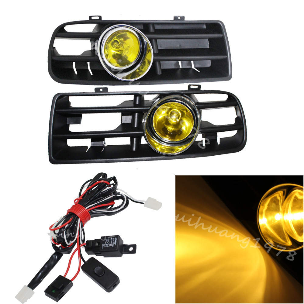 1 Pair Car Yellow Front Lower Grille LED Fog Light Lamp+Switch+Relay+Wiring Harness For VW Golf GTI/TDI MK4 1998-2004