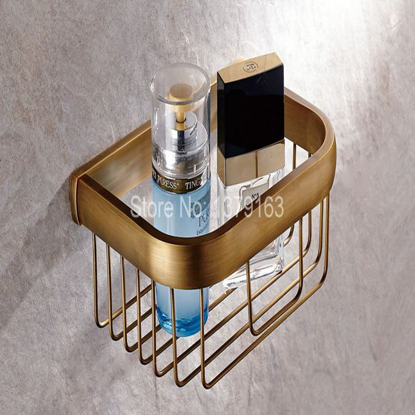 Bathroom Accessories Antique Brass Wall Mounted Toilet Paper Roll Holder Bathroom Shower Storage Basket aba534 creative style antique brass toilet paper holder bath storage basket wall mount