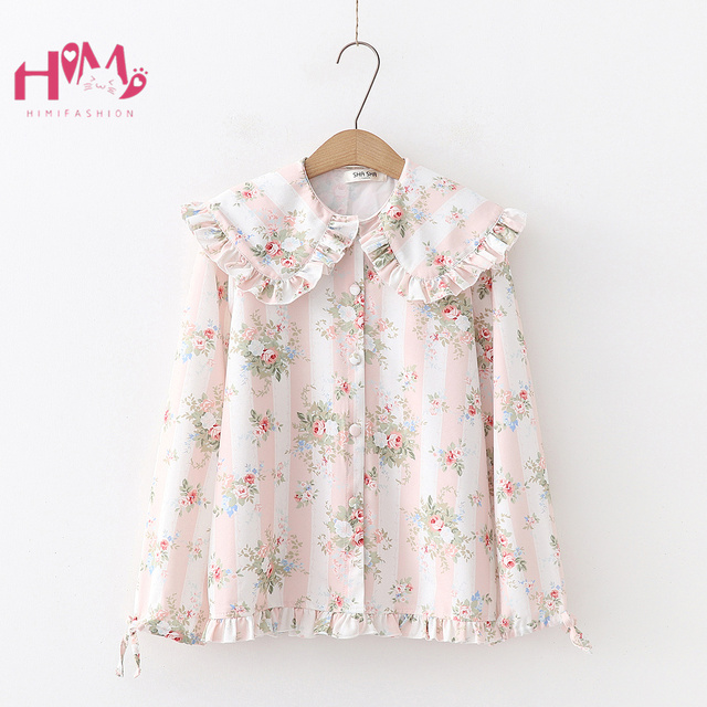 Vintage Ruffles Women's Shirts Button Down Long Sleeve Floral Printed Pink Tunic Top Doll Collar Lace Up Rose Chiffon Blouse