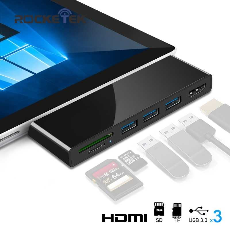 Rocketek lector de tarjeta usb 3,0 4K HDMI 1000Mbps Ethernet Gigabit Adaptador SD/TF micro SD para Microsoft Surface Pro 3/4/5/6 HUB
