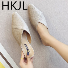 HKJL Summer 2019 new Korean version of pointed Baotou semi-slippers for women fashion wearing thick heels and low A299