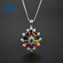 Bolai natural tourmaline pendant necklace solid 925 sterling silver gemstone fine jewelry for women suspension romantic pendants цена 2017