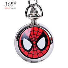 Fashion Mini Steampunk Super Hero Spiderman Quartz Vintage Pocket Watch Pendant Necklace Gift for Kids