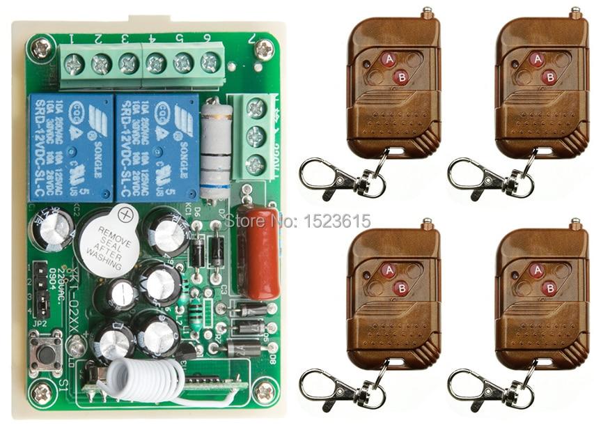 New AC 220V 2 CH 2CH RF Wireless Remote Control Switch System teleswitch 4 X Transmitter + 1 X Receiver,315/433 MHZ ac 220v 1channel 10a rf wireless remote control switch system 4 receiver