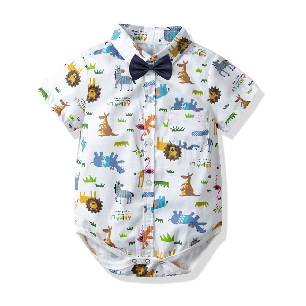 Baby Romper For Summer Animal Printing Short Sleeves Clothes Infant New Boy Top Overall First Gift
