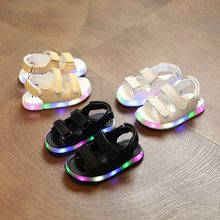 Girls Boys Sandals LED Glow Children Beach Shoes Summer Child Shoes Cute Girls Shoes Casual Kids Sandals April(China)