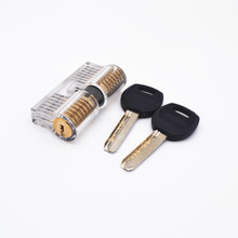 Lock Pick Set Acrylic Stainless Steel Transparent Visible Practice Cutaway Lock with 2 Keys Padlock Tool For Locksmith Supplier