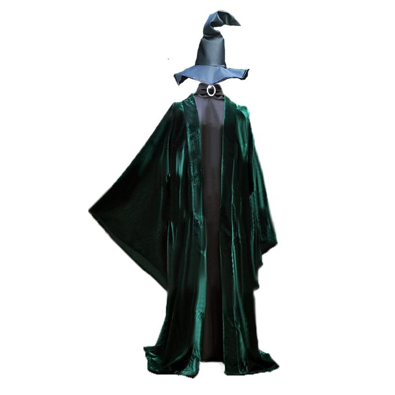 2018 Minerva McGonagall Dress Cosplay Costume Dark Green Cloak Trench Cloak+Hat