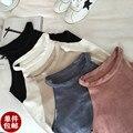 Primavera verano faux suede halter tops mujeres blusa entallada sexy hombro camisa canottiere donna camisetas mujer debardeur femme